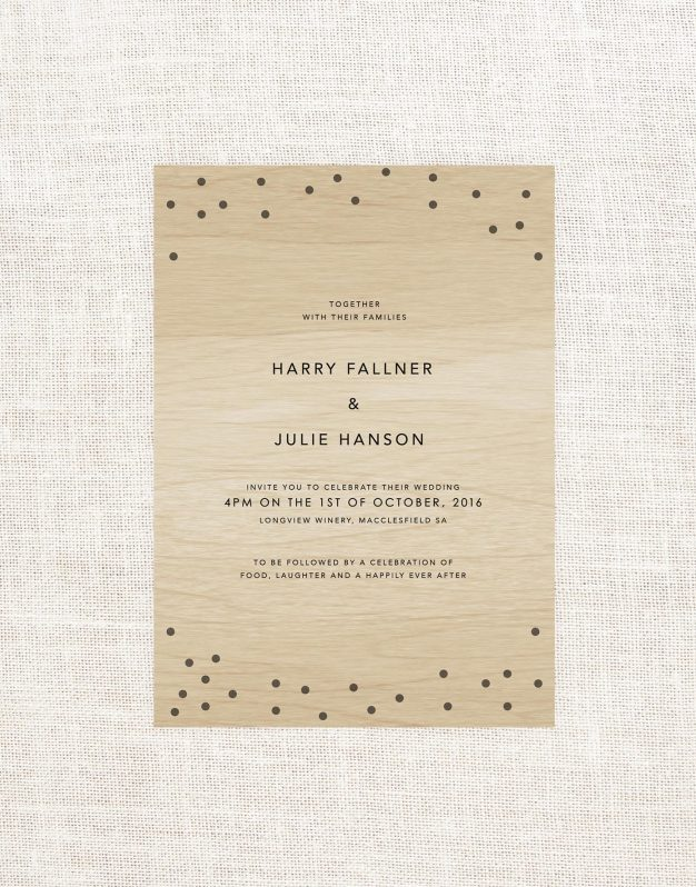 Confetti Wooden Wedding Invitations