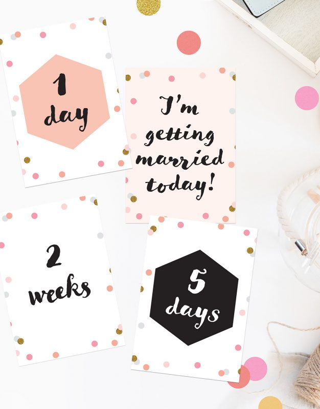 Confetti Wedding Countdown Milestone Cards Pink Peach Gold Grey Black White Cute Pretty Countdown Cards Wedding Inspiration Wedding Ideas Sail and Swan Wedding Planning Milestones Bride to Be Gift Wedding Preparation Engagement Gifts