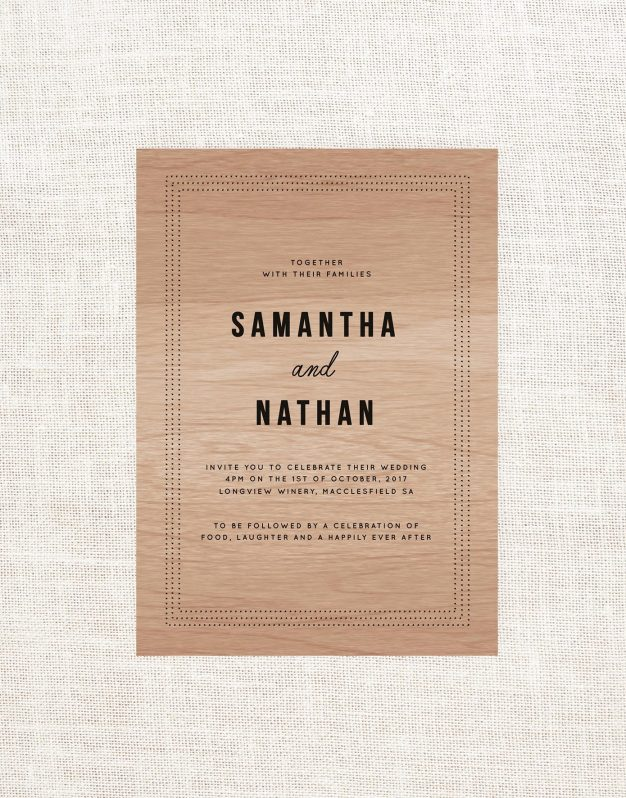 Dots Wooden Wedding Invitations Sail and Swan