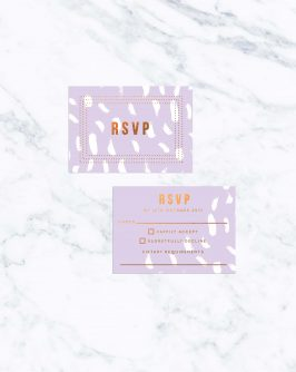 Modern Lilac Bronze Foil Wedding Invitations Custom Wedding Stationery Australia