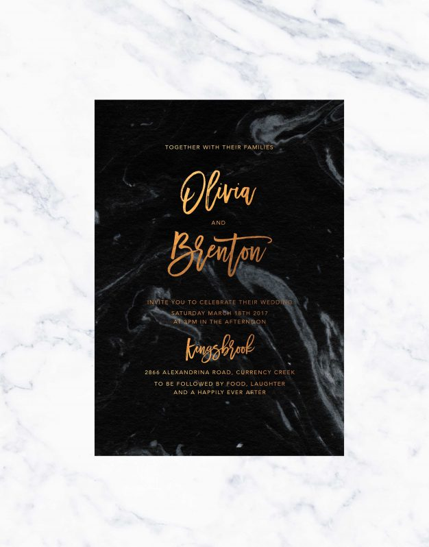 Granite Marble Bronze Foil Wedding Invitations Wedding Stationery Australia Perth Melbourne Foiling