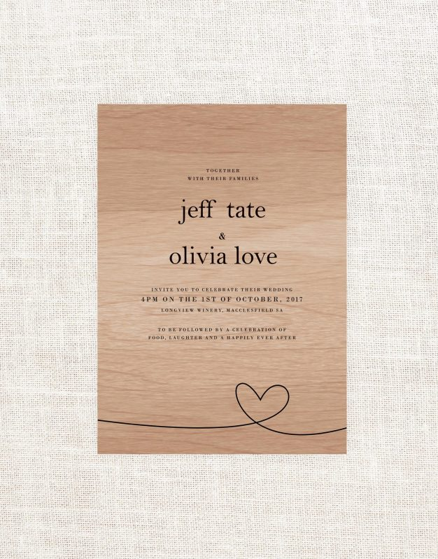 Heart Wooden Wedding Invitation Simple Modern Clean Lines Custom Wedding Stationery Australia Contemporary Hand Drawn Wood Grain