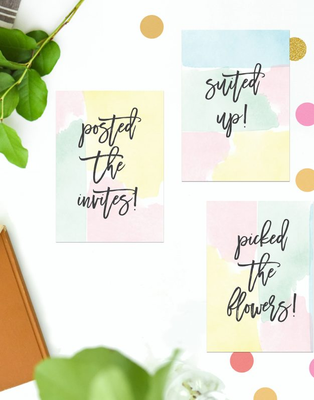 Pastel Watercolour Wedding Milestone Cards Sail and Swan Wedding Planning Milestones Bride to Be Gift Wedding Preparation Engagement Gifts Pink Yellow Green Blue