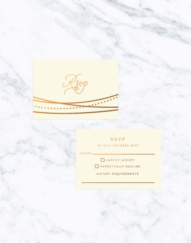 Garden Lights Cream & Bronze Foil Wedding Invitations Custom Wedding Stationery Australia Lines Abstract Contemporary Invites