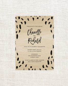 Modern Wooden Invitations Brush Strokes Script Wood Grain Custom Stationery Australia