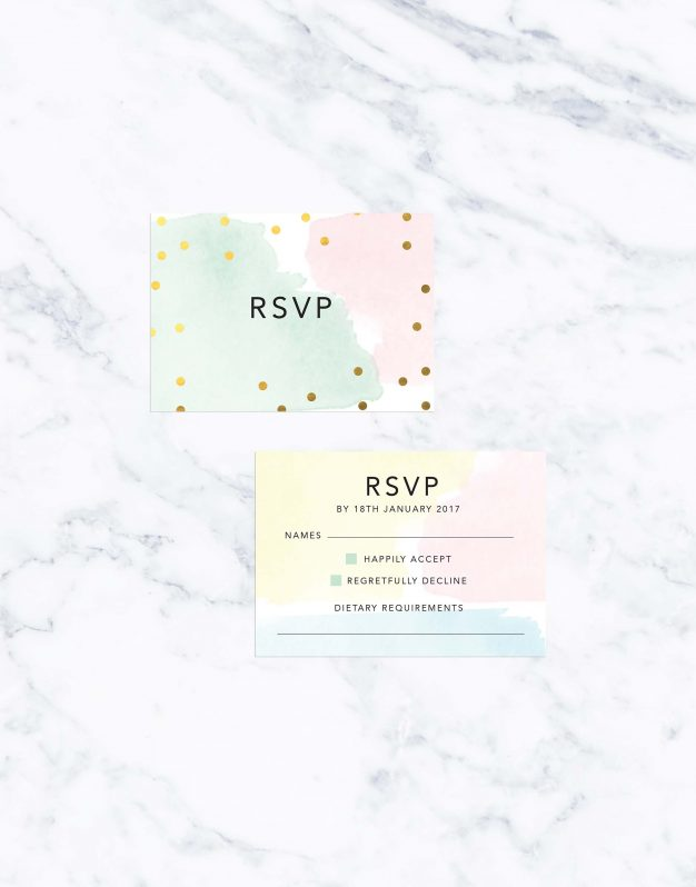 Pastel Confetti Gold Foil Wedding Invitations Wedding Stationery Australia Watercolours Foil Calligraphy Modern Wedding