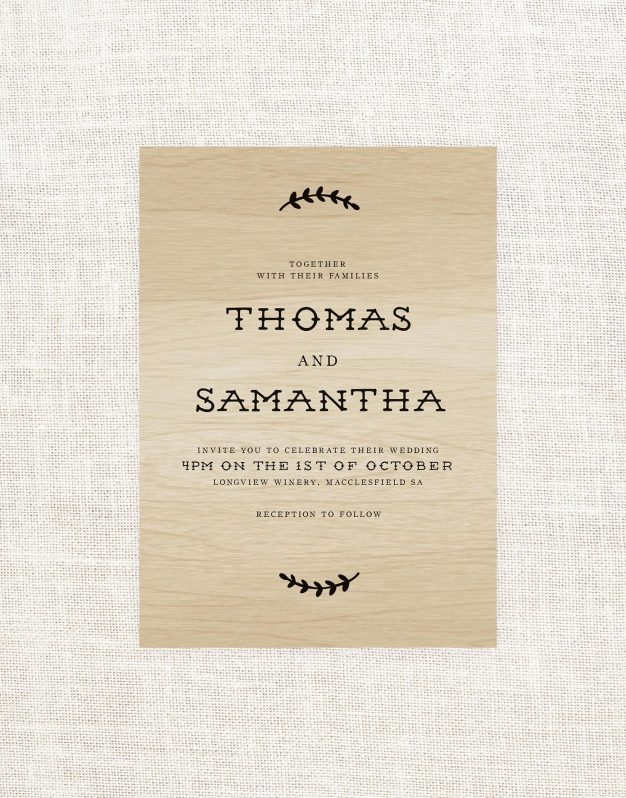 Olive Branch Wooden Wedding Invitations Leaf Wood Grain Vineyard Rustic Bespoke Wood Grain Custom Invitations Australia