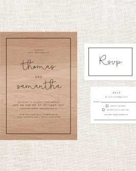 Simple Lines Wooden Wedding Invitations Wood Grain Handwriting Border Clean Contemporary Modern Custom Invites Australia
