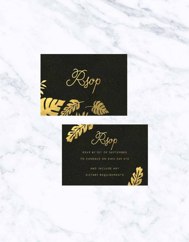 Tropical Gold Foil Wedding Invitations Wedding Stationery Australia Black Gold