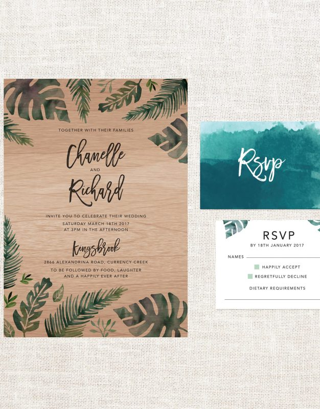 Tropical Colour Wooden Wedding Invitations Custom Wedding Invites Australia Wood Grain Wood Printing Foliage Leave Wedding Stationery Script Monstera Fern Botanical Jungle Green
