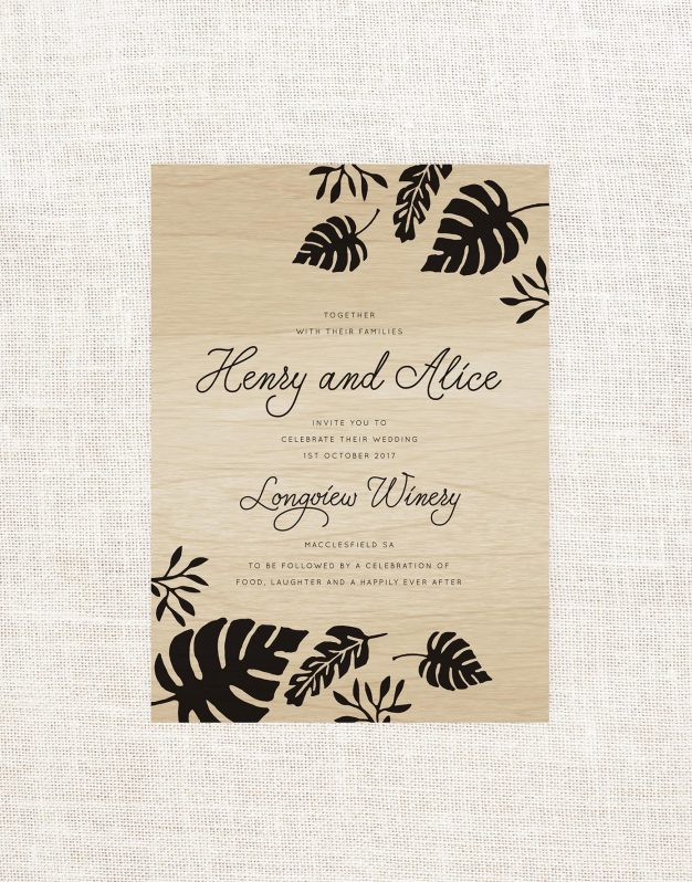 Tropical Wooden Wedding Invitations Custom Wedding Invites Australia Wood Grain Wood Printing Foliage Leave Wedding Stationery Script