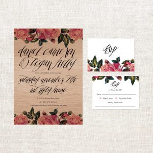 Vintage Floral Wooden Invitations Wooden Wedding Invitations Wedding Stationery Sydney Perth Melbourne Brisbane Australia Rustic Wooden Invite Vintage Rose Calligraphy Sail and Swan