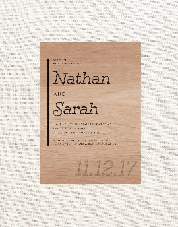 Modern Wooden Wedding Invitations Wood Grain Cursive Script