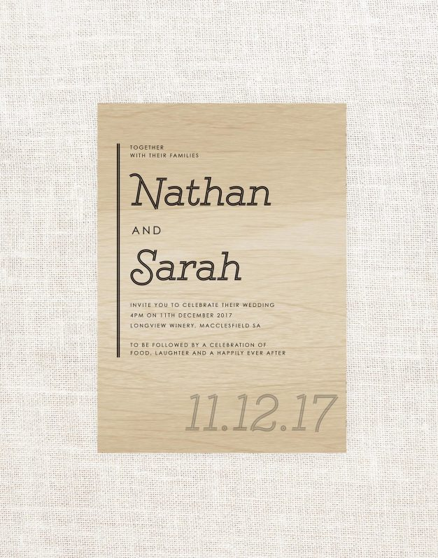 Modern Wooden Wedding Invitations