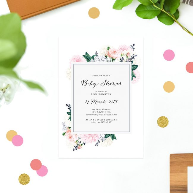 Berry Floral Baby Shower Invitations Vintage Flowers Bouquet Calligraphy Sail and Swan Australia Adelaide Melbourne Sydney Perth Brisbane