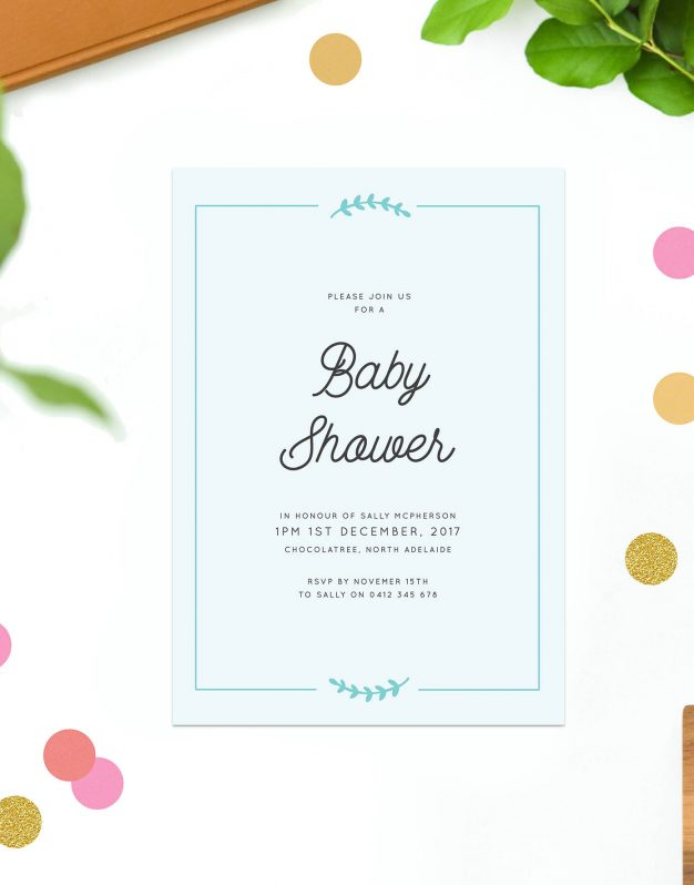 Blue Baby Shower Invitations Baby Shower Invites Australia Cute Laurel Wreath Border Vintage Rustic Sail and Swan Baby Shower Invitations Sydney Perth Melbourne Brisbane Adelaide