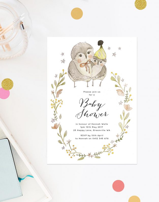 Mummy Owl Baby Shower Invitations Boy Girl Sail and Swan Adelaide Perth Brisbane Melbourne Sydney Hand Illustrated Sketch Gender Neutral Wreath