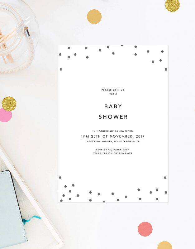 Grey Confetti Baby Shower Invites Unisex Baby Shower Invitations Modern Contemporary Australia Sydney Perth Melbourne Brisbane New Zealand Sail and Swan