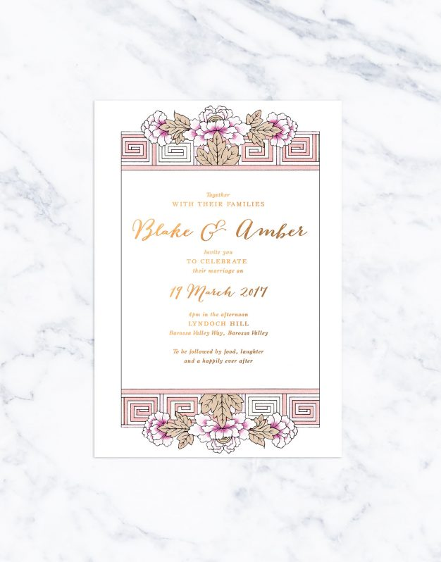Floral Deco Bronze Foil Wedding Invitations Art Deco Flowers Calligraphy Pink Custom Australia Sail and Swan