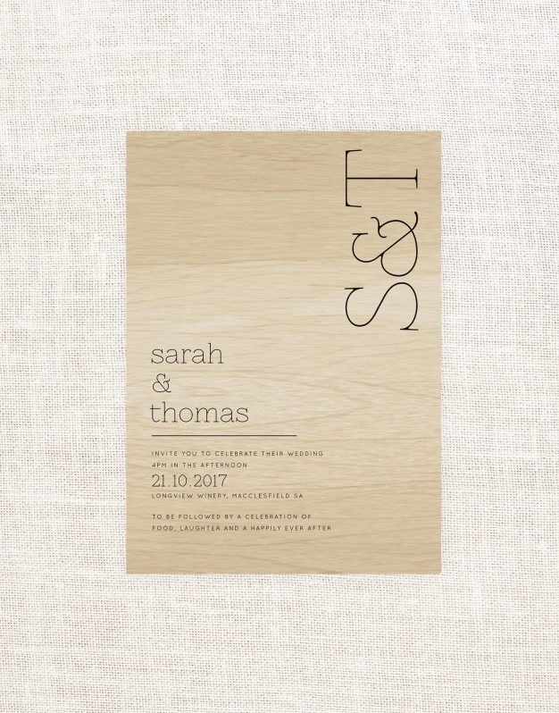 Initials Wooden Wedding Invitations Contemporary Modern Simple Clean Wood Grain Custom Stationery Australia Sail and Swan Natural