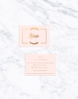 Olive Branch Border Blush and Bronze Foil Wedding Invitations Peach Foil Bronze Copper Gold Calligraphy Branch Leaf Modern Simple Pink Custom Wedding Stationery Australia Leaf Fern Sail and Swan