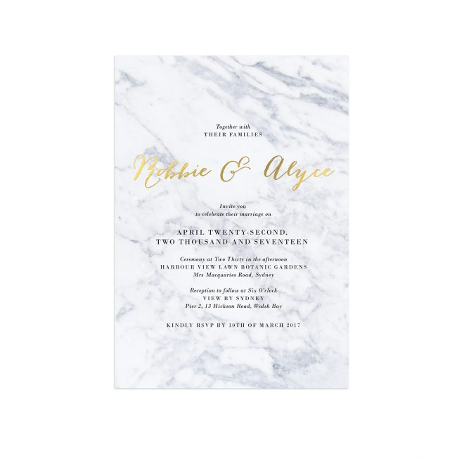 Gold Foil Marble Wedding Invitations