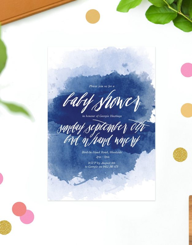 Navy Splash Baby Shower Invitations Watercolour Ink Calligraphy Script Sail and Swan Perth Melbourne Brisbane Adelaide