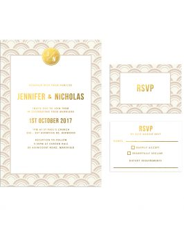 Ivory and Gold Foil Art Deco Wedding Invitations Arches Curves Fan Oriental Pattern Sail and Swan Australia
