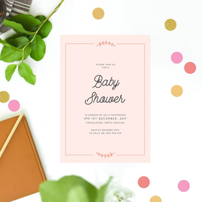 Peach Baby Shower Invitations Baby Shower Invites Australia Cute Laurel Wreath Border Vintage Rustic Sail and Swan Baby Shower Invitations Sydney Perth Melbourne Brisbane Adelaide