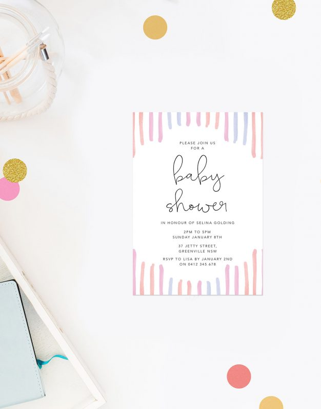 Watercolour Stripes Baby Shower Invitations Sail and Swan Perth Melbourne Brisbane Adelaide Pastels Pink Orange Blue Calligraphy Gender Neutral