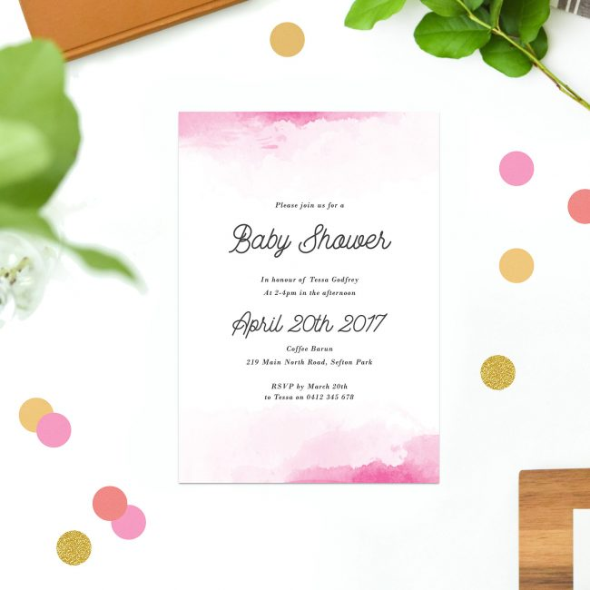 Pink Watercolour Baby Shower Invitations Calligraphy Sydney Perth Melbourne Brisbane Adelaide Sail and Swan Pastel Girl