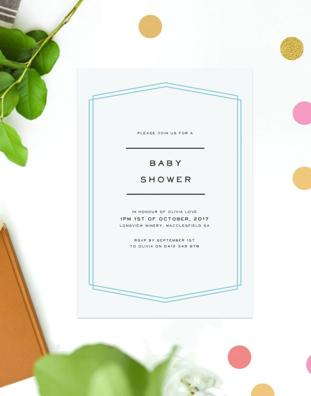Blue Border Boy Baby Shower Invitations Pastel Blue Simple Contemporary Font Sail and Swan Australia Perth Adelaide Brisbane Melbourne Sydney