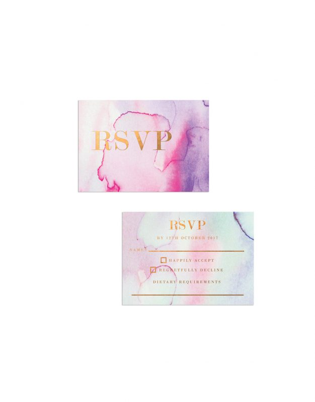 Pastel Watercolours with Bronze Foil Wedding Invitations Suite Pink Green Blue Purple Cool Tones Copper Bronze Metallic Foil Printing custom Wedding Stationery Australia Sail and Swan Painting
