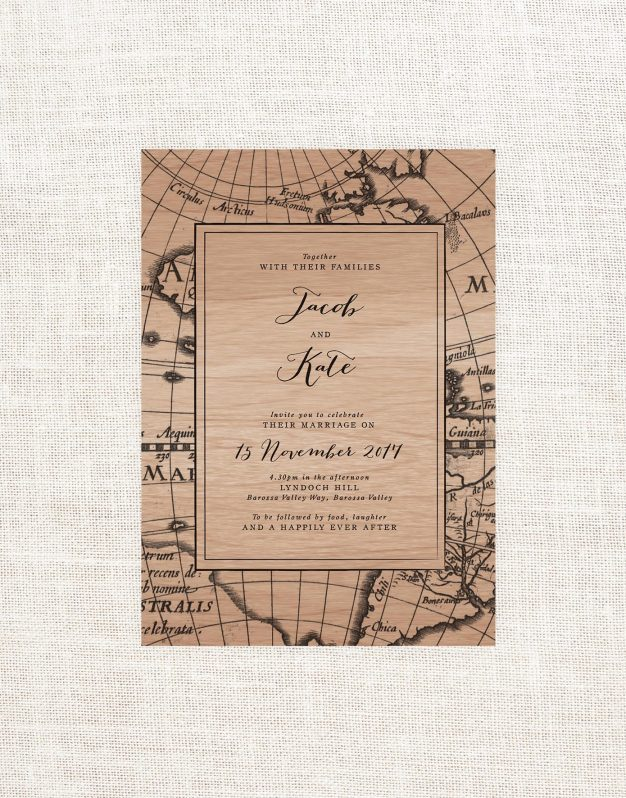 Vintage Map Wooden Wedding Invitations wood Grain Antique Nautical Old World Calligraphy Wedding Stationery Australia Sail and Swan World Map Old World
