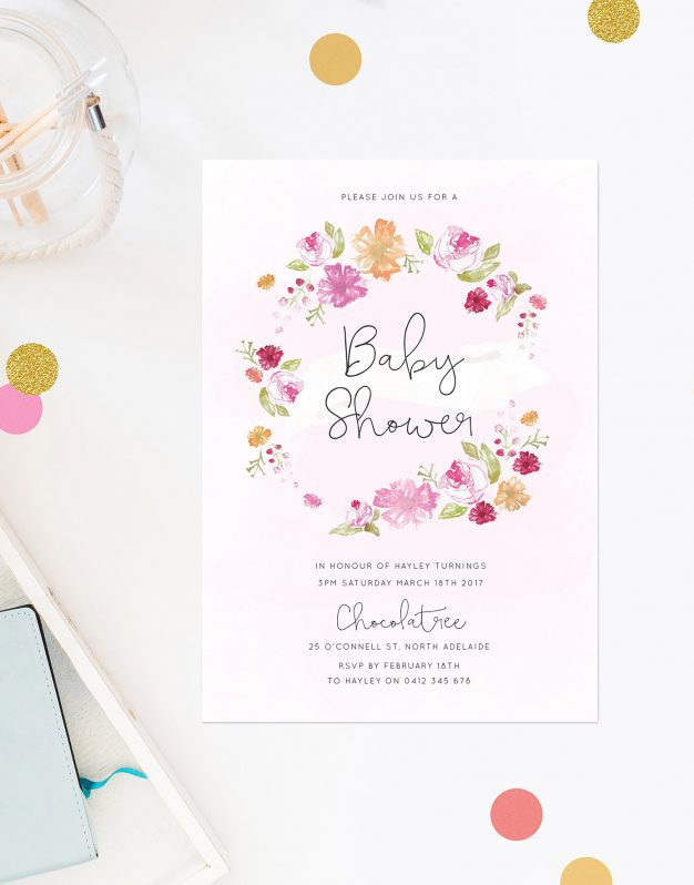 Flower Wreath Baby Shower Invitations Calligraphy Flowers Pink Orange Flowers Sail and Swan Australia Adelaide Perth Melbourne Sydney Brisbane