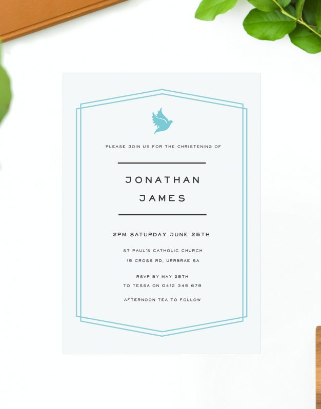 Blue Border Christening Invitations - Baby Boy Dove Border Sail and Swan Australia Catholic Ceremonies Religious Invites