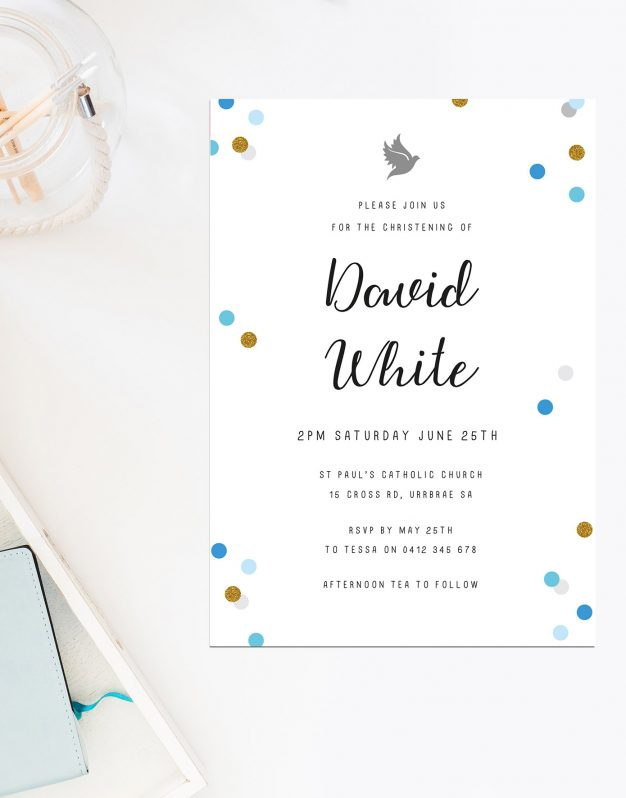 Blue Confetti Christening Invitations Baby Boy Blue Gold Sail and Swan Australia Catholic Ceremonies Religious Invites