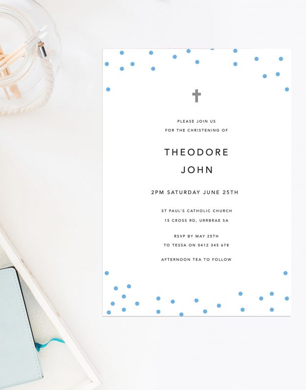 Blue Polkadots Christening Invitations Confetti Baby Boy Sail and Swan Australia Catholic Ceremonies Religious Invites