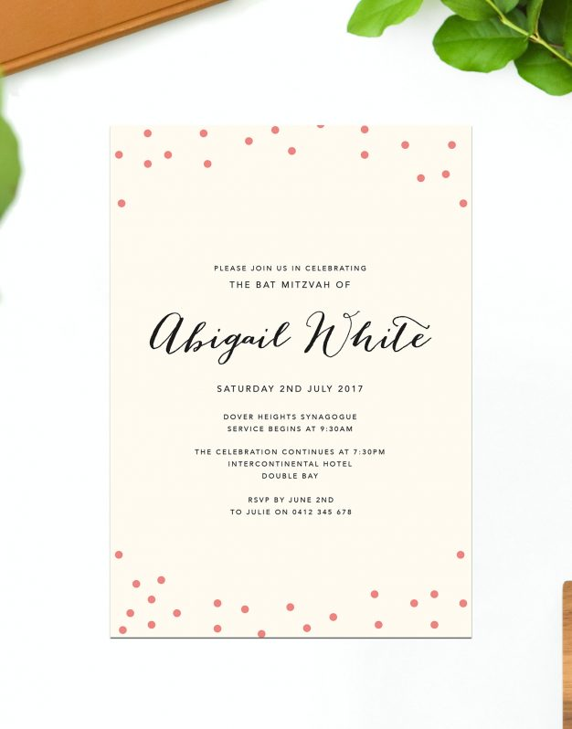 Cream Dot Bat Mitzvah Invitations Blush Polkadot Confetti Sail and Swan Australia Jewish Ceremonies Religious Invites