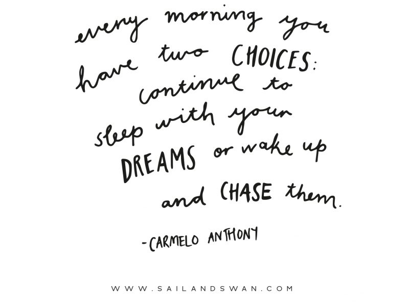 Continue to Sleep with your Dreams or Wake Up and Chase Them Inspirational Quotes Motivational Quotes Sail and Swan lifestyle blog inspiration motivation purpose