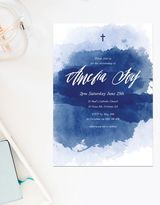 Navy Splash Christening Invitations Sail and Swan Australia Religious Invitations Baby Catholic Ceremonies Celebration