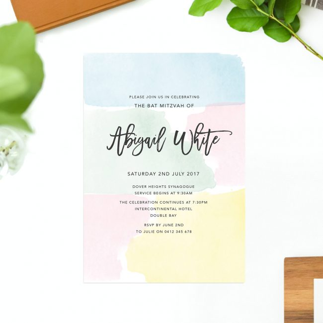 Pretty Pastels Bat Mitzvah Invitations Blue Mint Yellow Pink Soft Colours Script Calligraphy Sail and Swan Australia Jewish Ceremonies Religious Invites Watercolour