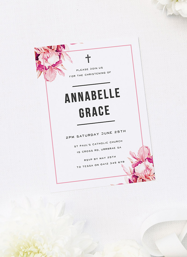 Pink Petals Christening Invitations