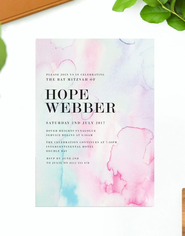 Pastel Watercolours Bat Mitzvah Invitations Pink Blue Purple Sail and Swan Australia Jewish Ceremonies Religious Invites