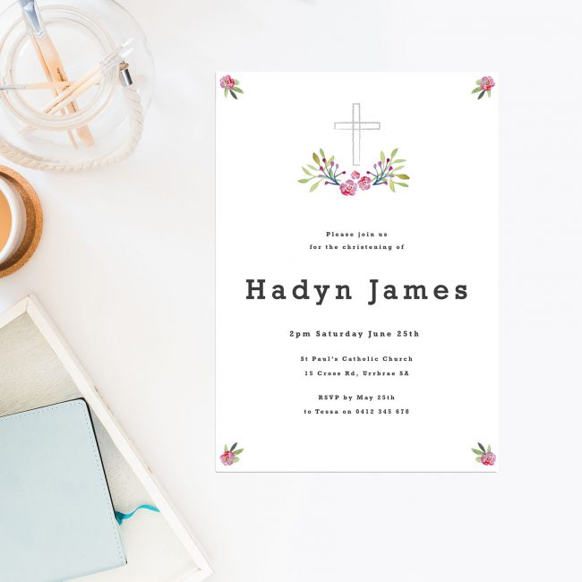 Cross Christening Invitations Catholic Ceremonies Floral Religious Invites Sail and Swan Australia