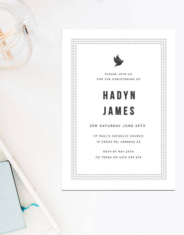 Grey Dove Christening Invitations Catholic Ceremonies Religious Invites Sail and Swan Australia Dot Border Simple