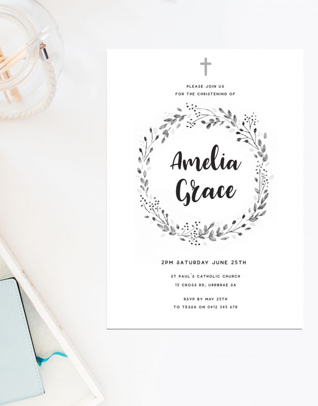 Wreath & Cross Christening Invitations Sail and Swan Australia Religious Invites Catholic Ceremonies Unisex Gender Neutral