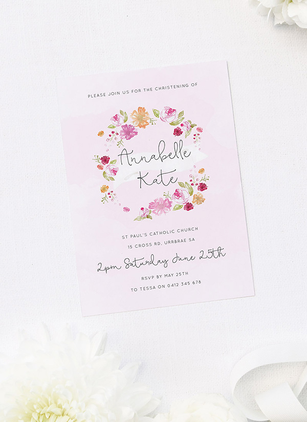 Flower Wreath Christening Invitations