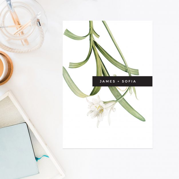 Lily Green White Black Modern Vintage Botanical Wedding Invitations Simple Clean Contemporary Wedding Invites Australia Sydney PerthMelbourne Brisbane Sail and Swan
