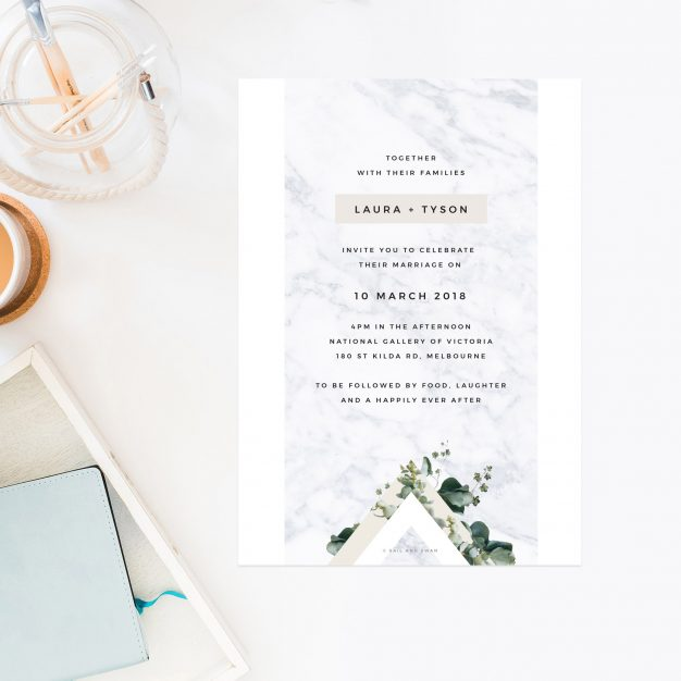 Marble Green Leaves Modern Botanical Wedding Invitations Minimal white pale neautral greenery foliage leaves garden chic stylish contemporary vintage botanicals wedding invites australia sail and swan